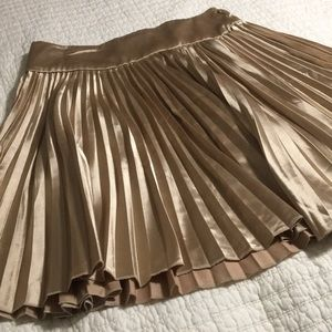 Gold shimmer pleat skirt